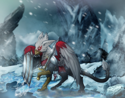 Size: 3750x2943 | Tagged: safe, alternate version, artist:jesterpi, oc, oc:gideon, griffon, adventure, armor, aurora, blizzard, cave, chainmail, cloth, cold, cropped, epic, grand, griffon oc, high quality, high res, hunt, ice, metal wing, mountain, on the hunt, paws, plushie, river, rock, shadow, snow, snowfall, splash, standing, sun, sword, talons, weapon, zoomed in