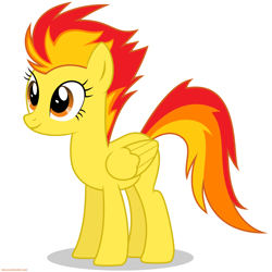 Size: 6000x6000 | Tagged: safe, artist:chief pone, artist:larsurus, oc, oc only, oc:phoenix fire, pegasus, pony, closed wing, fiery mane, not spitfire, pegasus oc, shadow, simple background, solo, standing, white background, wings