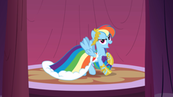Size: 2880x1620 | Tagged: safe, screencap, rainbow dash, pegasus, pony, suited for success, clothes, dress, female, gala dress, mare, outfit catalog, raised hoof, sandals