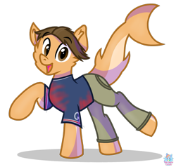Size: 1169x1111 | Tagged: safe, artist:rainbow eevee, oc, oc:andrew gerard, original species, pony, shark, shark pony, clothes, cute, football, looking at you, male, pants, paris, raised hoof, reno high school, shirt, simple background, solo, sports, transparent background