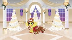 Size: 3371x1896 | Tagged: safe, artist:nstone53, oc, oc:angel snow, christmas, christmas tree, clothes, dress, female, gala dress, holiday, pegasus oc, tree