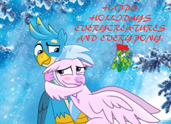 Size: 2704x1961 | Tagged: safe, artist:ejlightning007arts, gallus, silverstream, griffon, hippogriff, blue background, blushing, christmas, cute, everycreature, female, gallstream, happy holidays, hearts warming day, holiday, hug, jewelry, male, mistletoe, necklace, shipping, simple background, straight