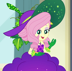 Size: 1104x1080   Tagged: safe, screencap, fluttershy, equestria girls, equestria girls series, holidays unwrapped, spoiler:eqg series, spoiler:eqg series (season 2), bare shoulders, belt, clothes, cornucopia costumes, costume, cropped, cute, dress, eyeshadow, food, fruit, geode of fauna, gloves, grapes, hat, jewelry, leaf, lidded eyes, looking down, magical geodes, makeup, necklace, o come all ye squashful, shyabetes, sleeveless, smiling, solo, vine