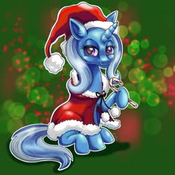 Size: 2048x2048 | Tagged: safe, artist:catscratchpaper, trixie, unicorn, bedroom eyes, candy, candy cane, christmas, cloak, clothes, female, food, hat, holiday, santa hat, solo