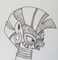 Size: 2231x2325 | Tagged: safe, artist:polar_storm, derpibooru exclusive, zecora, zebra, the cutie re-mark, blue eyes, female, inked, mare, monochrome, neo noir, partial color, simple background, sketch, solo, traditional art, white background