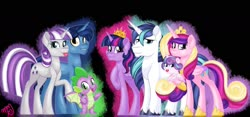 Size: 1600x750 | Tagged: safe, artist:missmele-madness, night light, princess cadance, princess flurry heart, shining armor, spike, twilight sparkle, twilight velvet, alicorn, dragon, pony, unicorn, family, sparkle family, tongue out, twilight sparkle (alicorn), winged spike