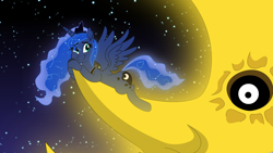 Size: 6000x3375 | Tagged: safe, artist:steampunk-brony, princess luna, pony, absurd resolution, cute, lunabetes, solo, soul eater, soul eater moon, space, stars, tangible heavenly object