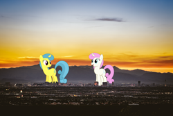 Size: 1780x1187 | Tagged: safe, artist:90sigma, artist:dashiesparkle, lemon hearts, twinkleshine, pony, unicorn, city, female, giant pony, highrise ponies, irl, las vegas, macro, mare, photo, ponies in real life, scenery, sunset