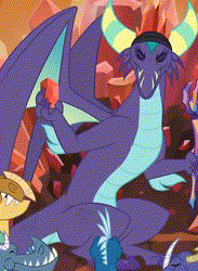 Size: 306x418 | Tagged: safe, screencap, gaius (dragon), dragon, the hearth's warming club, background dragon, bloodstone scepter, cropped, dragon crown, dragon lord, front view, sitting