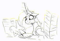 Size: 719x493 | Tagged: safe, artist:anticular, princess celestia, alicorn, pony, bags under eyes, female, floppy ears, mare, monochrome, quill, simple background, solo, stressed, wavy mouth, white background