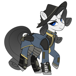 Size: 437x437   Tagged: safe, artist:crimmharmony, oc, oc:shadow spade, pony, unicorn, fallout equestria, armor, armored legs, beauty mark, blank, blank of rarity, blue eyes, clothes, commissioner:genki, fallout equestria: kingpin, fanfic, fanfic art, fedora, female, gun, handgun, hat, hooves, horn, mare, not rarity, pipboy, pipbuck, raised hoof, revolver, shoes, simple background, solo, stable 232, transparent background, unicorn oc, vault suit, weapon