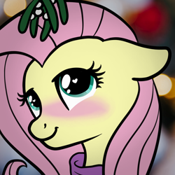 Size: 2100x2100 | Tagged: safe, artist:lannielona, fluttershy, pony, blushing, clothes, cute, female, looking at you, mare, mistletoe, shyabetes, solo, sweater, sweatershy, wingding eyes