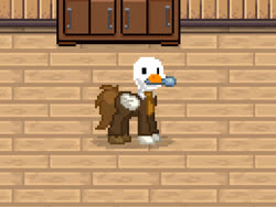Size: 517x388 | Tagged: safe, bird, goose, pegasus, pony, pony town, cafe, crossover, cursed image, dergunstown, derguntown, hod, lobotomy corporation, not salmon, pixel art, ponified, solo, spoon, untitled goose game, wat