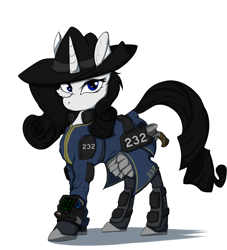 Size: 5000x5500   Tagged: safe, artist:tatykin, oc, oc:shadow spade, pony, unicorn, fallout equestria, armor, armored legs, black eyeshadow, blank, blank of rarity, blue eyes, clothes, commissioner:genki, fallout equestria: kingpin, fanfic, fanfic art, fedora, female, gun, handgun, hat, mare, not rarity, pipboy, pipbuck, revolver, shoes, solo, stable 232, unicorn oc, vault suit, weapon