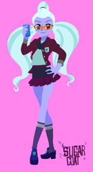 Size: 1199x2224 | Tagged: safe, artist:dadss_rootbeer, sugarcoat, equestria girls, clothes, crystal prep academy uniform, drink, female, glass, glasses, hand on hip, kneesocks, legs, looking at you, pigtails, pink background, school uniform, simple background, smiling, socks, solo, twintails