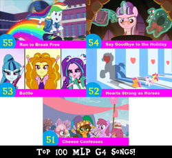 Size: 1704x1560 | Tagged: safe, artist:don2602, edit, edited screencap, screencap, adagio dazzle, apple bloom, aria blaze, berry punch, berryshine, cheerilee, cheese sandwich, cherry crash, merry may, rainbow dash, scootaloo, snowfall frost, sonata dusk, starlight glimmer, sweetie belle, earth pony, pegasus, pony, unicorn, a hearth's warming tail, equestria girls, flight to the finish, pinkie pride, rainbow rocks, run to break free, spoiler:eqg series (season 2), arms in the air, candy, candy cane, cauldron, cheese confesses, cutie mark crusaders, eyes closed, female, filly, filly cheerilee, food, geode of super speed, glasses, hat, hearts strong as horses, jester hat, let's have a battle, magical geodes, marching, running, say goodbye to the holiday, the dazzlings, top 100 mlp g4 songs, wreath, younger