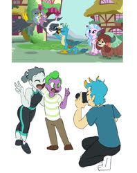 Size: 1027x1294 | Tagged: safe, artist:ponyretirementhome, screencap, gabby, gallus, silverstream, spike, yona, dragon, griffon, hippogriff, yak, equestria girls, camera, cute, equestria girls interpretation, equestria girls-ified, friendship, gabbybetes, human spike, humanized, not shipping, scene interpretation, spikabetes, winged spike