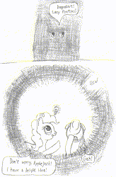 Size: 500x762 | Tagged: safe, artist:quint-t-w, applejack, pinkie pie, earth pony, pony, applejack's hat, comic, cowboy hat, darkness, dialogue, eyes in the dark, hat, idea, light bulb, looking up, old art, pencil drawing, pinkie being pinkie, pinkie physics, pun, traditional art