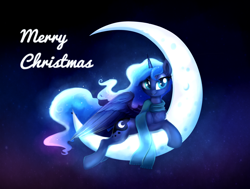 Size: 2568x1945 | Tagged: safe, artist:ravensunart, princess luna, alicorn, pony, christmas, clothes, cute, ethereal mane, female, holiday, lunabetes, mare, moon, night, night sky, scarf, sky, solo, space, stars, tangible heavenly object, text
