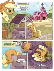 Size: 768x1024 | Tagged: safe, artist:caseycoller, idw, applejack, earth pony, pony, spoiler:comic, spoiler:comic85, comic, disembodied head, falling, female, filly, filly applejack, foal, official comic, preview, silly, silly pony, speech bubble, sweet apple acres, well, younger