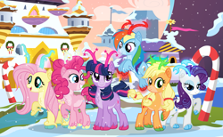 Size: 2685x1657   Tagged: safe, artist:velveagicsentryyt, applejack, fluttershy, pinkie pie, rainbow dash, rarity, twilight sparkle, alicorn, deer, reindeer, base used, candy, candy cane, deerified, food, mane six, reindeerified, snow, snowfall, species swap, twilight sparkle (alicorn)