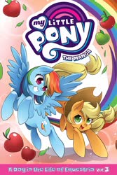 Size: 1500x2249 | Tagged: safe, seven seas, applejack, rainbow dash, my little pony: the manga, cute, dashabetes, duo, jackabetes, manga, my little pony logo, official
