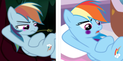 Size: 467x233 | Tagged: safe, edit, edited screencap, screencap, mean rainbow dash, rainbow dash, pegasus, pony, derpibooru, the mean 6, blushing, clone, comparison, cropped, female, forest background, lesbian, mare, meta, on back, spa, straw in mouth, tree, tree branch
