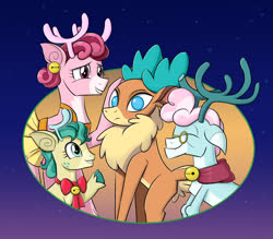 Size: 1200x1050 | Tagged: safe, artist:mew-me, alice the reindeer, aurora the reindeer, bori the reindeer, velvet reindeer, deer, reindeer, them's fightin' herds, best gift ever, community related, cute, eyes closed, female, no pupils, smiling