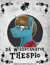 Size: 500x647 | Tagged: safe, alternate version, artist:samoht-lion, oc, oc only, oc:dawillstanator, pony, unicorn, clothes, glasses, horn, male, smiling, solo, stallion, text, unicorn oc