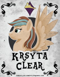 Size: 612x792 | Tagged: safe, artist:samoht-lion, oc, oc only, oc:krysta clear, pegasus, pony, bust, female, mare, pegasus oc, smiling, solo, spread wings, text, wings