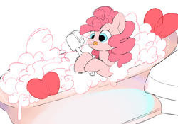 Size: 1107x773   Tagged: safe, artist:poneko-chan, pinkie pie, earth pony, pony, bath, bathing, bathtub, brush, cute, diapinkes, female, heart, mare, pixiv, simple background, solo, tongue out, white background