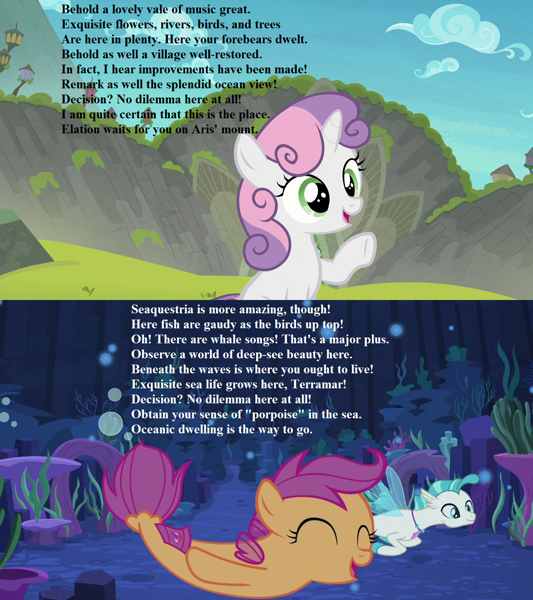 2226310 Safe Edit Edited Screencap Screencap Scootaloo Sweetie Belle Terramar Seapony G4 Surf And Or Turf Acrostic Cute Cutealoo Diasweetes Harmonizing Heights Misspelling Necklace Poem Seaponified Seapony Scootaloo Seaquestria Scootaloo x rumble can you feel the love tonight. safe edit edited screencap screencap