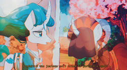 Size: 2732x1523 | Tagged: safe, artist:poneko-chan, mistmane, sable spirit, pony, unicorn, campfire tales, 80s anime, anime, cherry blossoms, duo, female, flower, flower blossom, mare, open mouth, pixiv, retro, scene interpretation, subtitles, veil