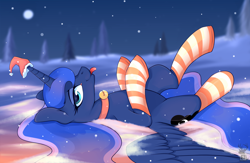 Size: 3028x1980 | Tagged: safe, artist:shadowreindeer, princess luna, alicorn, pony, :p, bell, bell collar, christmas, clothes, collar, cute, female, hat, holiday, looking at you, lunabetes, mare, night, on back, profile, santa hat, silluna, snow, socks, solo, striped socks, tongue out