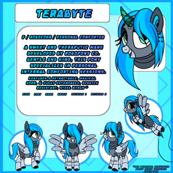 Size: 5000x5000 | Tagged: source needed, safe, artist:nomipolitan, oc, oc:terabyte, pegasus, pony, robot, metal, reference sheet, solo