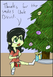 Size: 402x577 | Tagged: source needed, safe, artist:happy harvey, oc, oc:filly anon, human, equestria girls, bow, christmas, christmas ornaments, christmas tree, cigarette, cigarette pack, clothes, cutie mark, female, filly, holiday, implied discord, oversized clothes, oversized shirt, present, ribbon, shirt, socks, this will end in jail time, tree