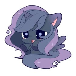 Size: 1024x1024 | Tagged: safe, artist:phobiaowl, princess luna, alicorn, pony, blushing, chest fluff, chibi, colored hooves, cute, ear fluff, lunabetes, simple background, solo, white background