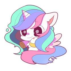 Size: 1024x1024 | Tagged: safe, artist:phobiaowl, princess celestia, alicorn, pony, blushing, chest fluff, chibi, cute, cutelestia, ear fluff, simple background, smiling, solo, white background