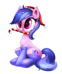Size: 1274x1501 | Tagged: safe, artist:ravensunart, part of a set, sea swirl, seafoam, pony, unicorn, background pony, candy, candy cane, chest fluff, clothes, commission, cute, female, food, hat, hearth's warming, holiday, mare, mouth hold, santa hat, seadorable, simple background, sitting, socks, solo, white background, ych result