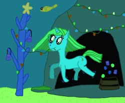 Size: 1280x1053   Tagged: safe, artist:sb1991, oc, oc only, oc:ocean blue, fish, pony, starfish, unicorn, box, cave, christmas, coral, decorating, decoration, hearth's warming, hearth's warming eve, holiday, light, ocean, ornament, ornaments, underwater