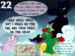 Size: 1024x768 | Tagged: safe, artist:bronybyexception, diamond tiara, discord, fancypants, princess luna, winona, oc, oc:snowdrop, alicorn, earth pony, pegasus, pony, unicorn, a christmas carol, advent calendar, blind, cannon, car, charles dickens, cloak, clothes, crown, dice, ghost of christmas past, ghost of christmas present, ghost of christmas yet to come, hat, horseshoes, jewelry, lamp, monopoly, parody, regalia, ship, top hat, twimobile