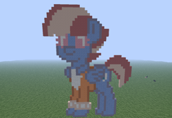 Size: 1024x705 | Tagged: safe, artist:artsy46, windy whistles, pegasus, pony, pony town, clothes, female, grass, grass field, mare, minecraft, minecraft pixel art, photo, pixel art, solo