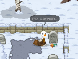 Size: 749x562 | Tagged: safe, bird, goose, pegasus, pony, pony town, carmen, crossover, cursed image, flower, gravestone, graveyard, hod, implied death, lobotomy corporation, ponified, sad, sephirah, solo, untitled goose game, wat