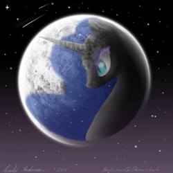 Size: 2449x2449 | Tagged: safe, artist:dreamyartcosplay, nightmare moon, alicorn, pony, ethereal mane, female, full moon, mare, mare in the moon, meteor, moon, signature, solo, space, starry mane, stars