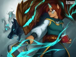 Size: 1080x810 | Tagged: safe, artist:weirdsketcher, oc, oc only, anthro, unicorn, animal, anthro oc, belt, book, clothes, fantasy, fantasy class, female, glasses, glowing horn, horn, magic, mare, monster, solo