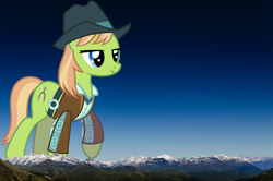 Size: 2001x1325 | Tagged: safe, artist:jeatz-axl, yuma spurs, pony, appleloosa resident, female, giant pony, giantess, highrise ponies, irl, macro, mare, mega giant, mountain, mountain range, photo, ponies in real life