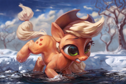 Size: 1200x800 | Tagged: safe, artist:assasinmonkey, applejack, earth pony, pony, cold, cowboy hat, female, freckles, hat, mare, outdoors, snow, solo, tree, water
