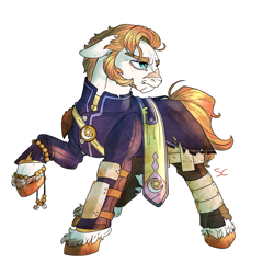 Size: 3000x3000 | Tagged: safe, artist:sourcherry, oc, unnamed oc, earth pony, pony, armor, clothes, freckles, male, priest, scar, sideburns, solo, stallion, wasteland ventures