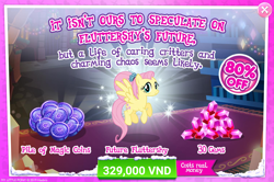 Size: 1556x1033 | Tagged: safe, fluttershy, pegasus, pony, the last problem, spoiler:s09e26, advertisement, crack is cheaper, gameloft, gameloft interpretation, gameloft shenanigans, gem, implied discord, implied discoshy, implied shipping, implied straight, magic coins, official, older, older fluttershy