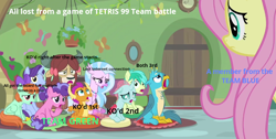 Size: 782x395 | Tagged: safe, artist:gooeybird, edit, edited screencap, screencap, berry blend, berry bliss, fluttershy, gallus, november rain, ocellus, peppermint goldylinks, sandbar, silverstream, smolder, yona, changedling, changeling, dragon, earth pony, hippogriff, pony, unicorn, yak, teacher of the month (episode), spoiler:interseason shorts, bad teacher, caption, classroom, disappointed, dragoness, feeling down, feels bad pony, female, friendship student, injured, internet, knock out, looking at each other, looking at you, looking down, looking up, male, mare, meme, multiplayer, nintendo switch, online, online game, rank, regret, sad, screaming, spread arms, stallion, team battle, teams, tetris, this will end in tears, upset